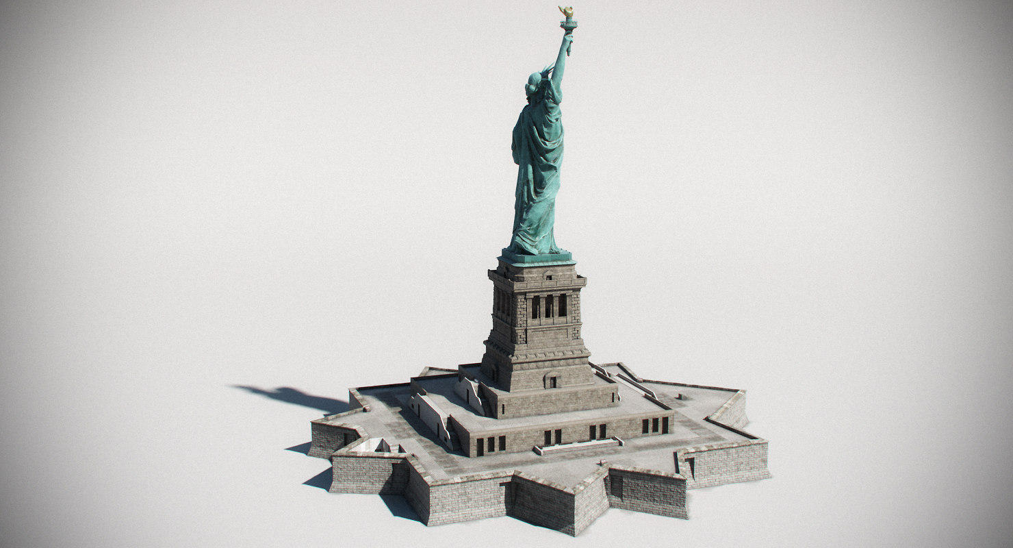 3d statue liberty model turbosquid 1213399