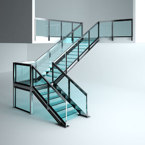 3D office glass stairs