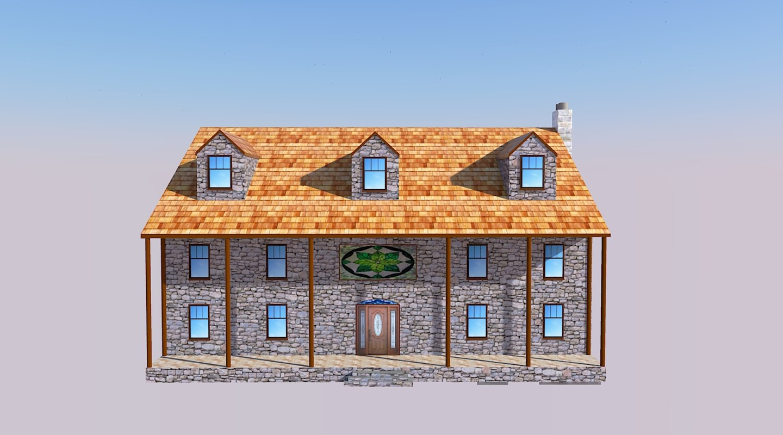 3D house walls stone model