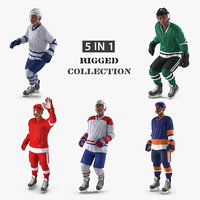 generic hockey players rigged 3D model