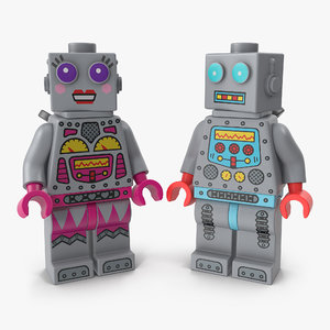 3D lego robot minifigures
