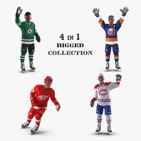 rigged hockey players 3D model
