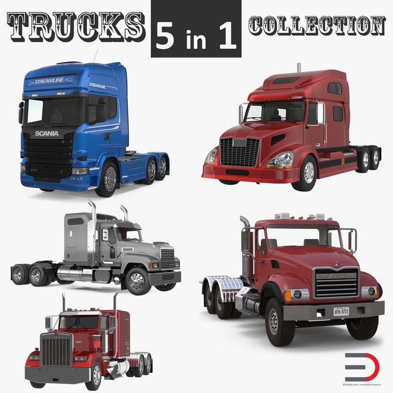 trucks scania mack 3D model