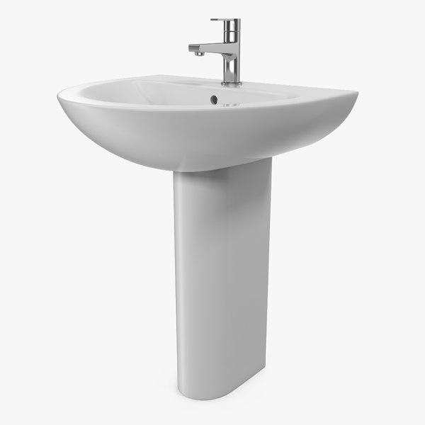 3D wash basin pedestal model