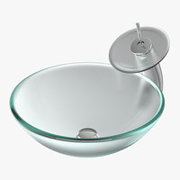 modern glass sink 3D