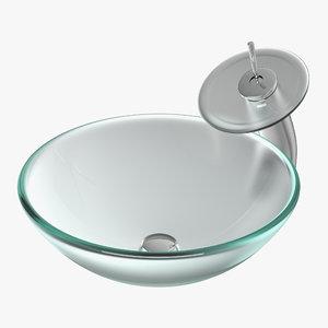 modern glass sink 3D