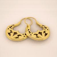 3D model gold hoop earrings