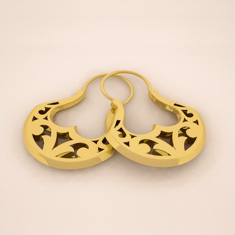 3D model gold hoop earrings