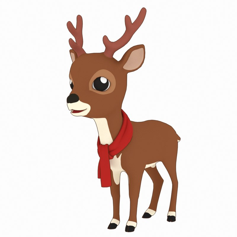 cartoon christmas deer 3D model