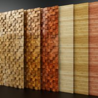 wooden panel mosaic bamboo 3D model