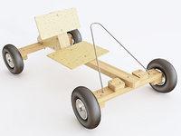 3D car wooden toy