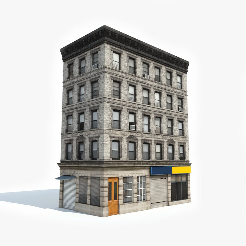 Contemporary Three Storied Residential Building: Apartment Building 3D Model