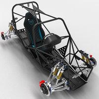 sports car skeleton 3D