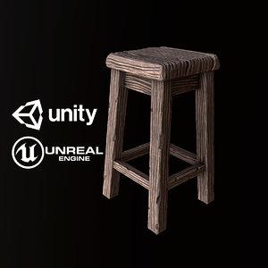 pbr ready wood stool model