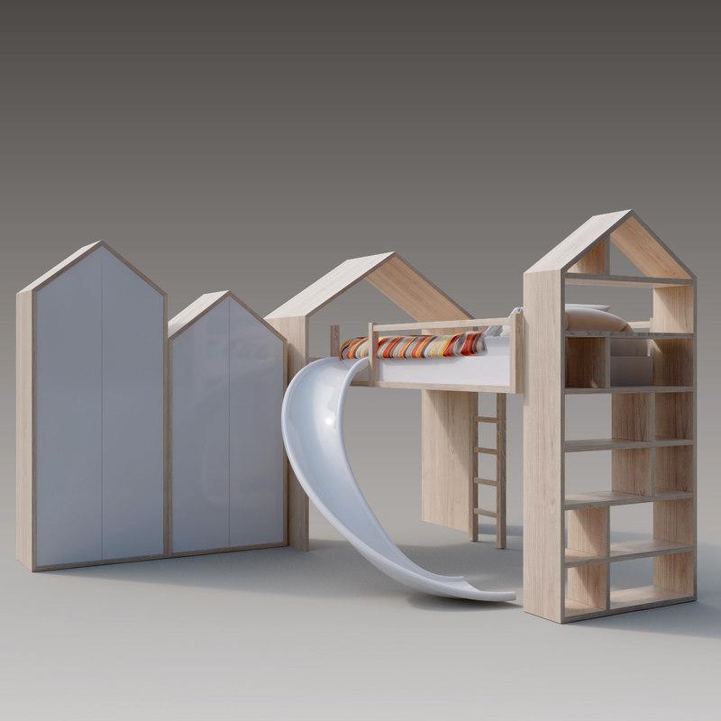 3D custom baby bedroom set