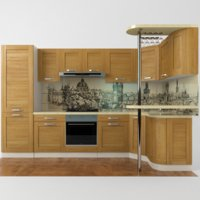 modern kitchen set bar 3D