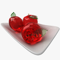Glass Apples on a Ceramic Plate