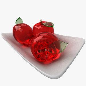 glass apples 3D model