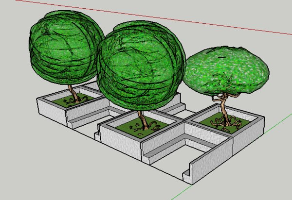 sitout seating trees 3D