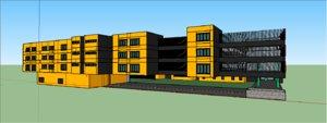 hostel building 3D model