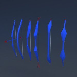 3D bow arrow different styles model