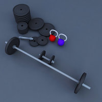 3D weight barrel rod gym model