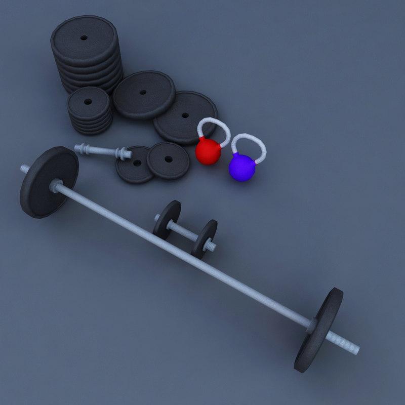 3D weight barrel rod gym model