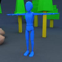 skinny rag doll character 3D model
