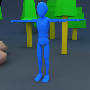 skinny rag doll character 3D model