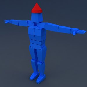 3D muscular rag doll character model
