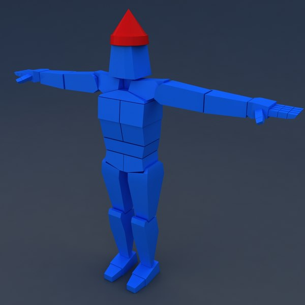 Low poly muscular ragdoll character dummy for games