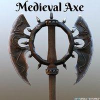 3D medieval axe model