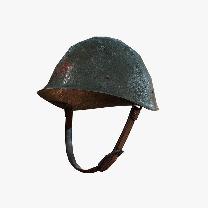 3D combat helmet soviet ww2 model