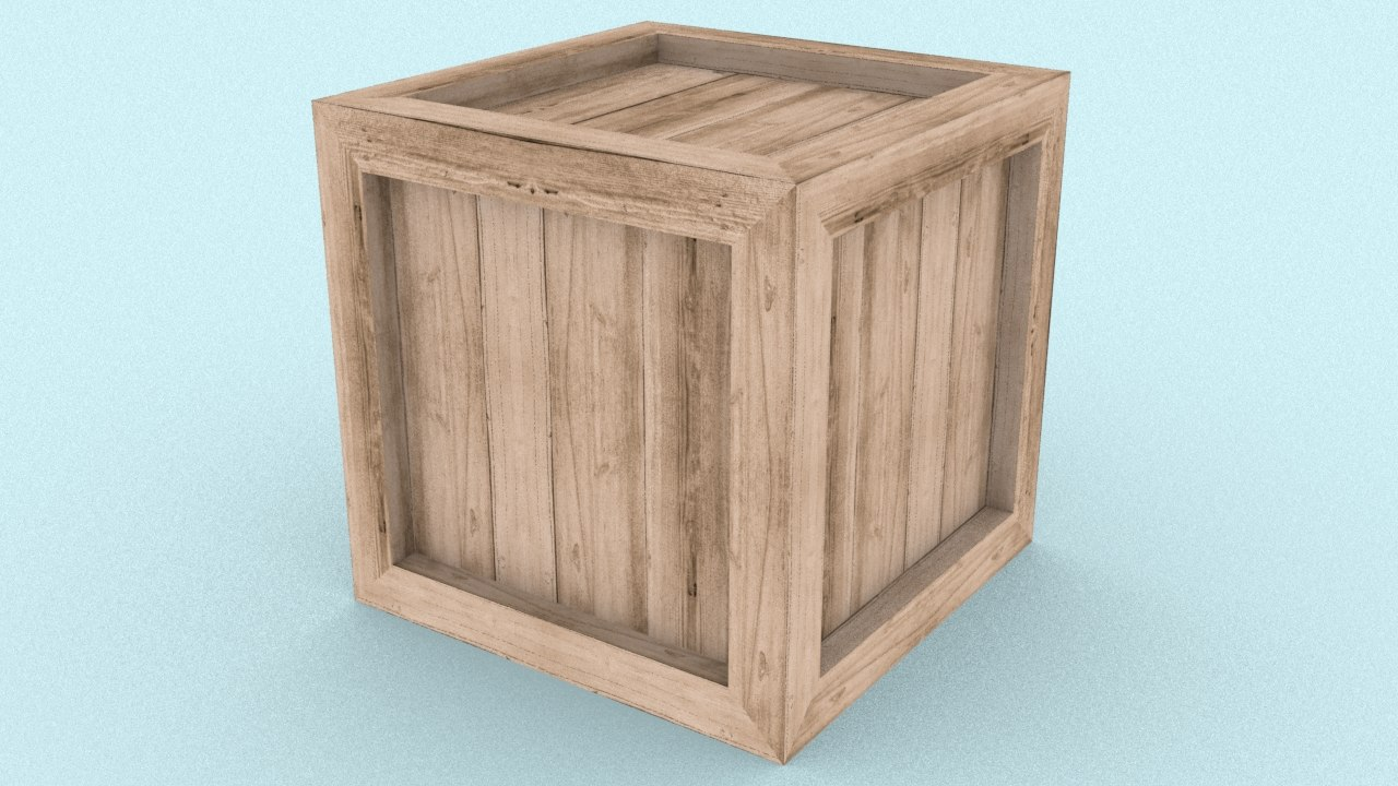 3D simple wooden crate 5 model