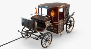 old wooden carriage 3D model