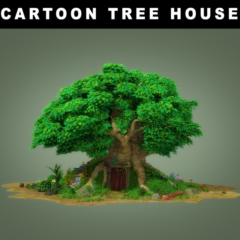 3D cartoon tree house plants model