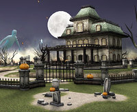 haunted house cemetery 3D