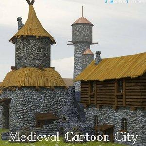 3D medieval cartoon city