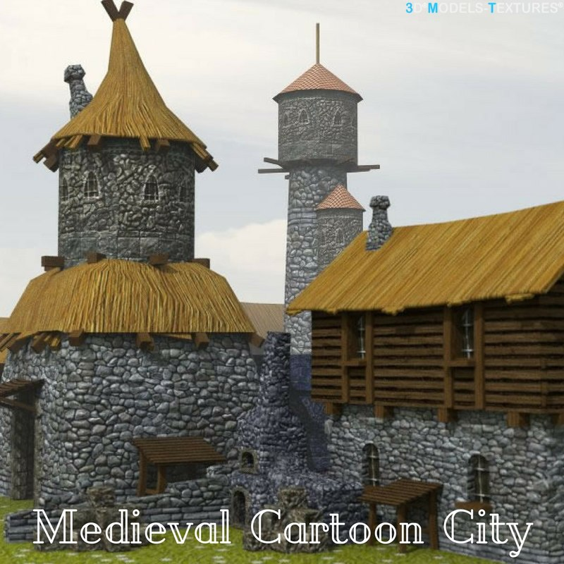 3D medieval cartoon city