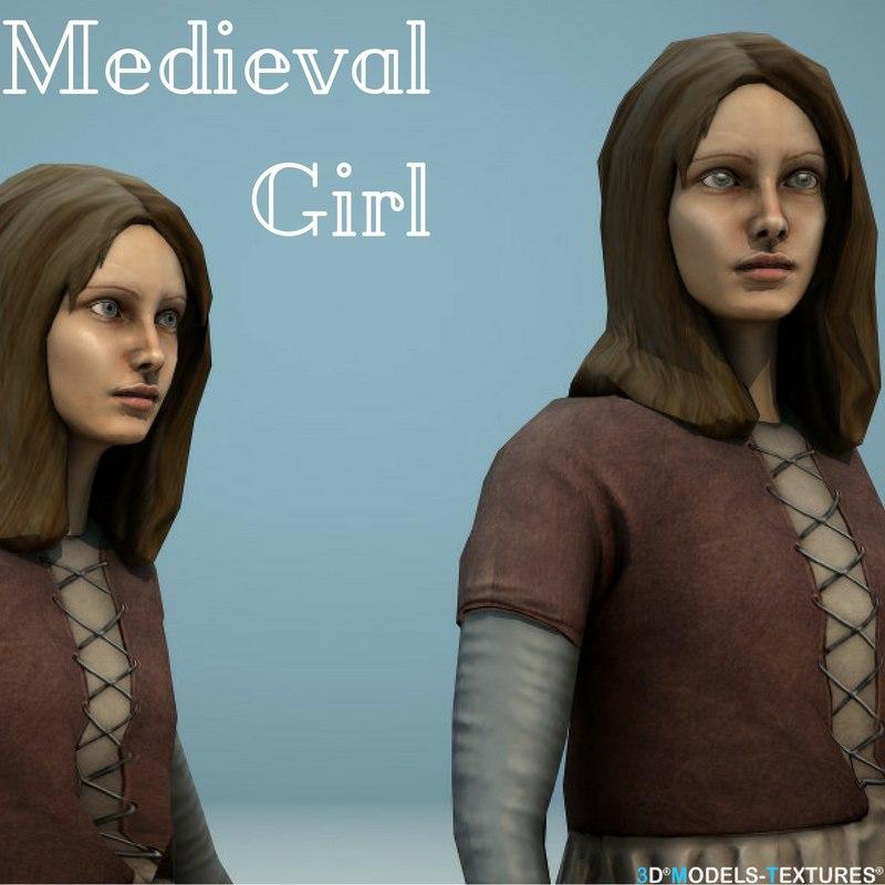 medieval girl 3D model