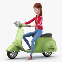 3D cartoon girl rigged character model