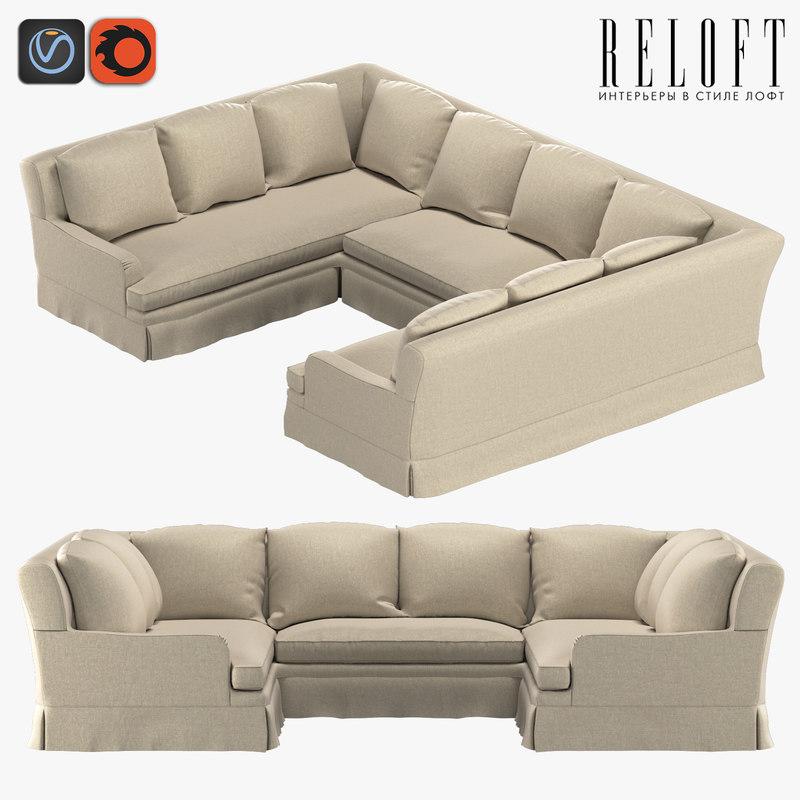 3D sofa u shape form