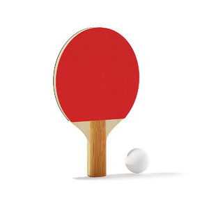 table tennis racket ball 3D