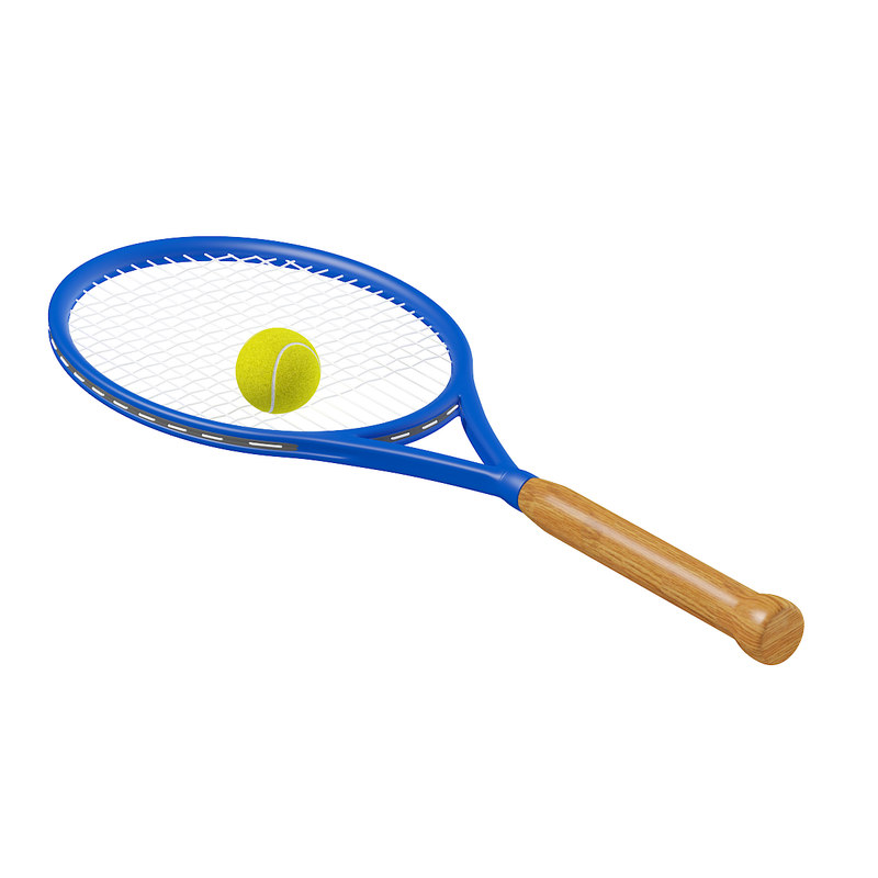 3D blue tennis racket ball