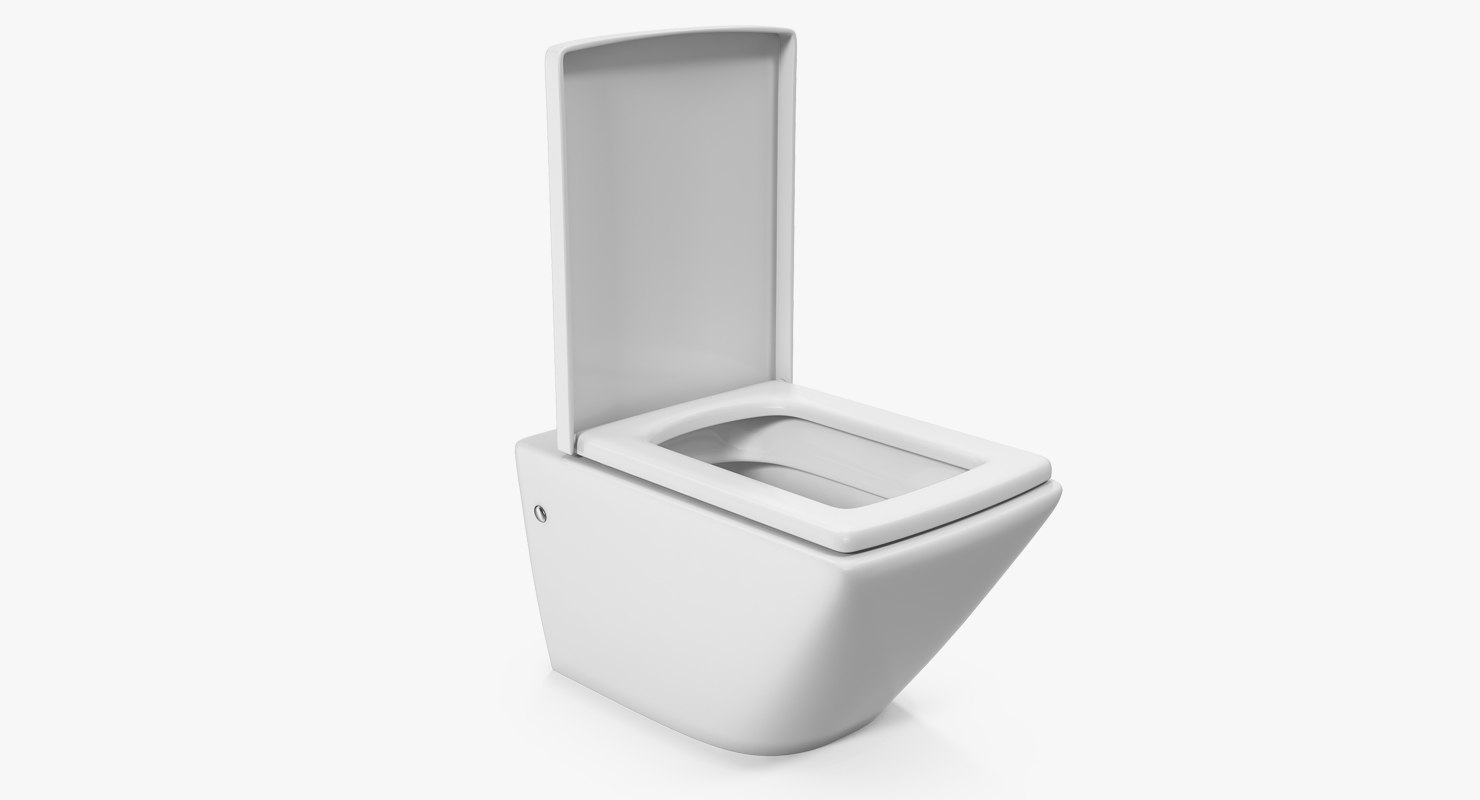 3D wall toilet white