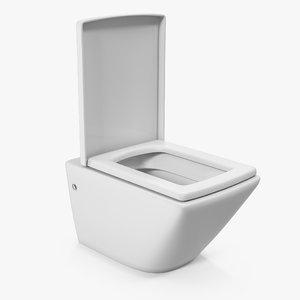 3D wall toilet white