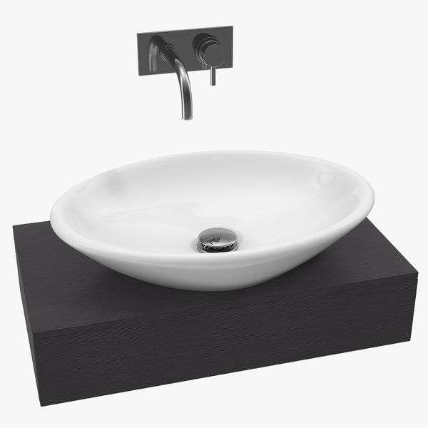 3D bathroom ceramic counter wash