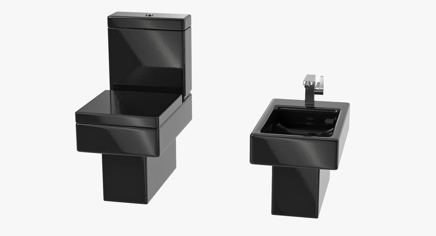 Black Modern Bathroom Toilet.  3D model black modern bathroom toilet TurboSquid 1214018