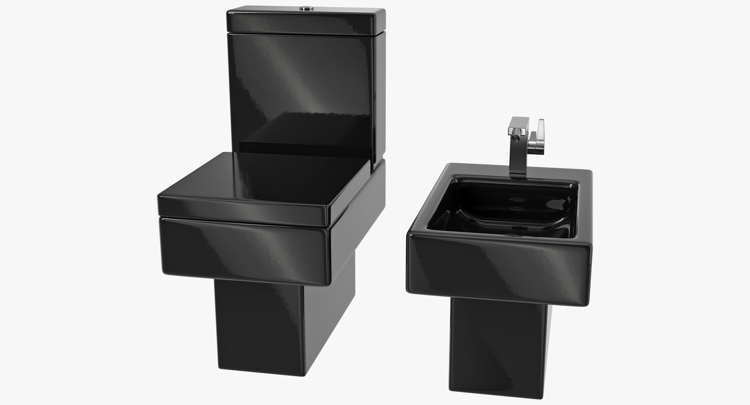 3D model black modern bathroom toilet