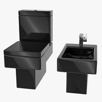 Black Modern Bathroom Toilet and Bidet